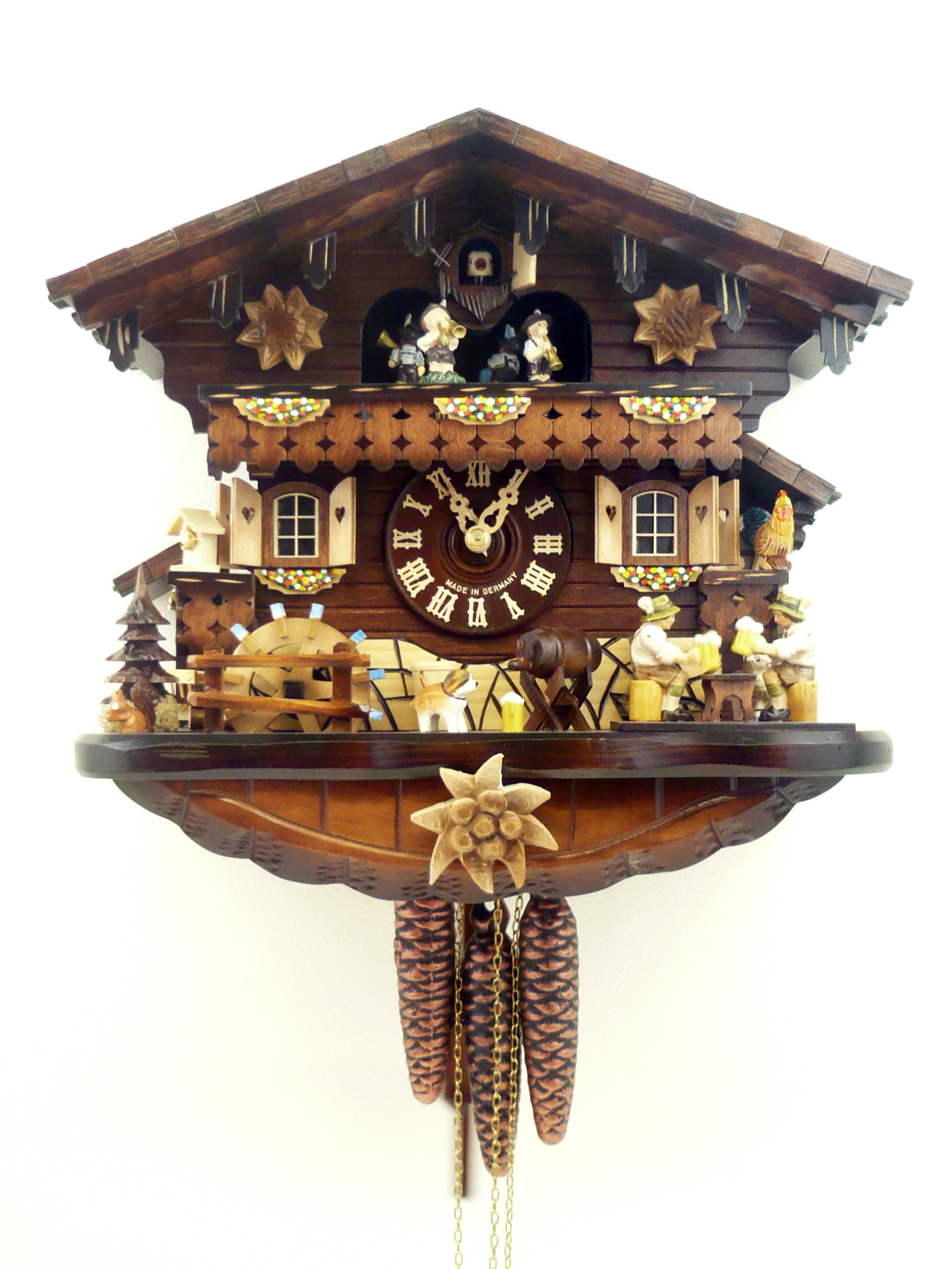 cuckoo clock chalet with carved edelweiss and beer drinker. Black Bedroom Furniture Sets. Home Design Ideas